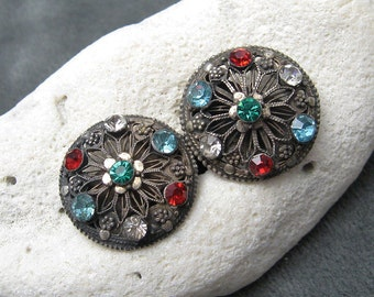 Vintage Silver Rhinestone Earrings Etruscan E5301