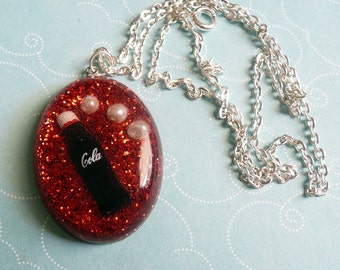 Red Cola Bottle Soda Pop Resin Necklace