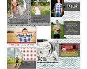 Taylor Graduation Announcements - Photoshop Templates for Photographers - High School Seniors (8 .PSD Files) - CS2002