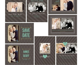 Save the Date Photoshop Templates for Photographers - Endless Love - Set of 8 PSD Files - CS4004 Instant Download