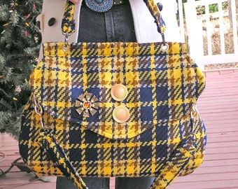 Plaid Vixen - A Large Woolen Purse in a Bold Yellow, Blue, and Brown Plaid