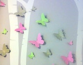 3D Butterfly Wall Art Set of 30 Paper Butterflies, Girls Bedroom, Nursery, Woodland