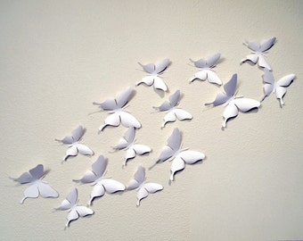 35 White 3D Butterfly Wall Art Circle