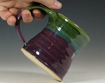 Small cup, coffee mug, ceramic, teacup, glazed in purple green,  handmade stoneware by hughes pottery