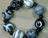 SALE! Hand-painted Wooden Bead Bracelet - White - Black - Grey - Elasticated