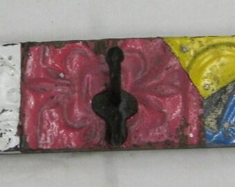"""3 Hook Tin Ceiling Coat Hook Hat Keys Jewelry Hanger 23""""x4"""" S1214-13"""