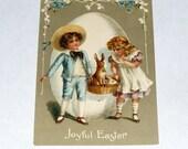 Antique Postcard Germany Easter Embossed Children Bunny Rabbit Basket