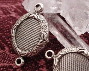 Lot Old Vintage 10/8 mm Oval Ornate Connector Setting Cabochon Cameo 2 Ring 8/10 mm Quality Antique Sterling Silver Brass Jewelry Finding 5M