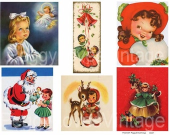 Christmas Girls 2 Digital Collage from Vintage Christmas Greeting Cards - Instant Download