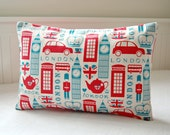 London cushion cover, UK red bus, Big Ben, Union Jacks decorative pillow cover 12 x 18 inch - LittleJoobieBoo