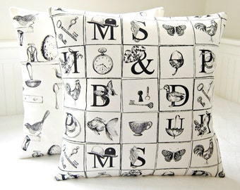 decorative pillow cover antique style grey black prints , birds fish watch key butterfly cushion cover 16 or 18 inch
