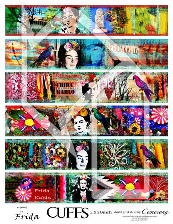 Cuffs - Borders Frida Kahlo Digital Collage Sheet no263