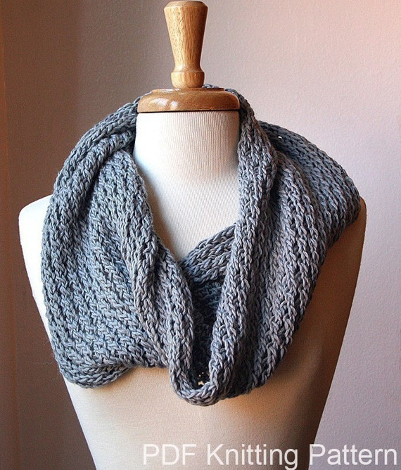Snood Pattern Knit : Infinity Circle Scarf Knitting Pattern Snood Loop Bridget