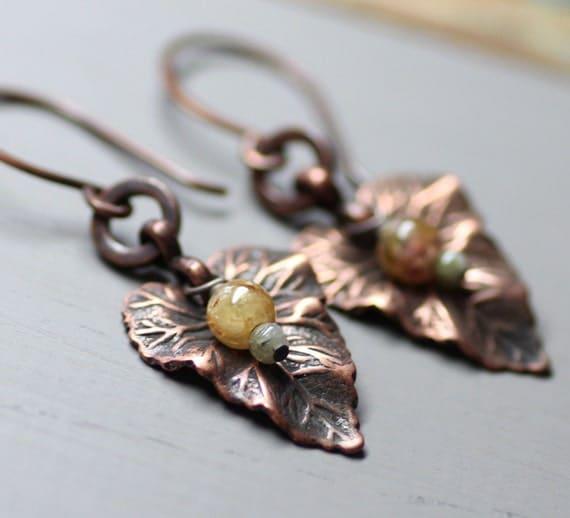 Antiqued Copper Leaf Earrings Tourmaline Earrings Gemstone Earrings Rustic Copper Jewelry