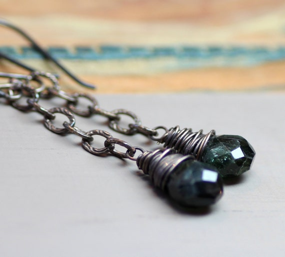 Dark Green Tourmaline Earrings Sterling Silver Chain Earrings Rustic Silver Wire Wrapped Black Gemstone Earrings