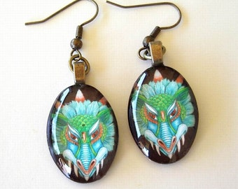 Dragon Jewelry Earrings Turquoise Aqua Antique Brass Orange Eyes Art Glass