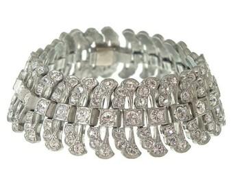 Wide Rhinestone Art Deco Bracelet, Vintage Book Piece, 1920s Art Deco Jewelry, Wedding Bracelets, Wedding Jewelry
