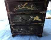 Vintage Japan 3 Drawer Mini Chest ---- Reserved for Allison Davis