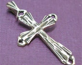 Sterling Silver Cross Pendant Filigree Rugged Weathered Christian Catholic Religious Faith Necklace