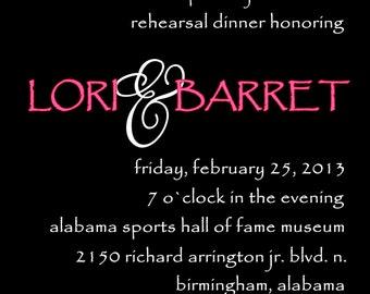 Rehearsal Dinner invitation, Digital rehearsal dinner invitation, Custom designed rehearsal dinner invite, damask invitation, wedding