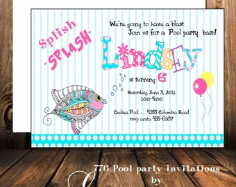 Digital Children birthday invitation children pool party invitation  birthday party invitation personalized birthday invitations,
