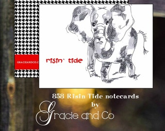 custom notecards, elephant, roll tide, alabama houndstooth note cards, houndstooth stationery, elephant notecards