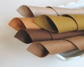 100% Merino, Wool Felt Fabric, Five Sheet Set, Brown Color Story, 8x12 Inch Sheets, Soft Felt, Handwork Fabric, DIY Craft Supply, Washable