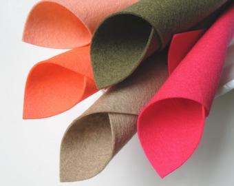 100% Wool, Felt Fabric Sheets, Coral Sands Color Story, Felt Set, Coral, Beige, Hot Pink, Bright Pink, Mushroom, Beach, Shells, Sand