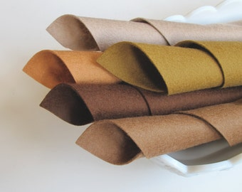 100% Merino, Wool Felt Fabric, Five Sheet Set, Brown Color Story, 8x12 Inch Sheets, Soft Felt, Handwork Fabric, DIY Craft Supply, Washable