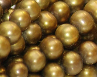 """Olive Green Genuine Freshwater Pearl---5mm round off  pearl 1 full strand 15.5"""" high quality AA--wholesale pearl"""