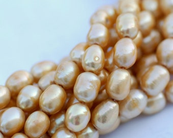 "Rice Pearl Baroque Pearl Freshwater Pearl vintage golden yellow champagne 9x11mm--16"" full strand 38 pcs----wholesale deal #DR3030"