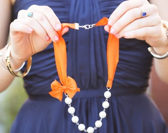 Orange Bridesmaid Necklaces - 6 Silk Ribbon Necklaces - Wedding Necklaces - Set of 6 bridesmaid gifts