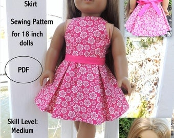 Lana Top and Skirt AGD Size - Doll Clothes PDF Pattern for 18 inch Doll