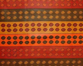African Fabric 1/2 Yard Cotton ORANGE RUST BROWN Cowrie Shells