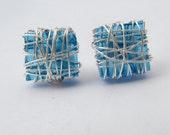 Glass Stud Earrings, Blue glass earrings, wire earrings, bridesmaids earrings, wire wrapped stud, square post earrings