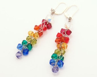 Rainbows and pride - Swarovski and crocheted wire organic style earrings -  All shades of the spectrum