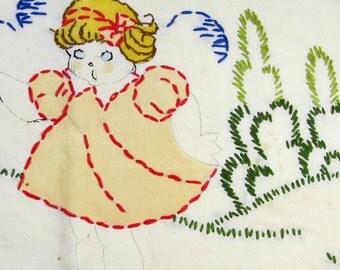 Vintage embroidered doll blanket 50s