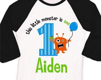 monster first 1st Birthday t-shirt personalized little monster birthday shirt raglan