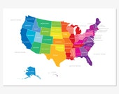 Bright and Colorful Map of the United States