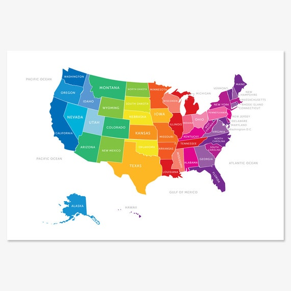 Map Of The United States USA Map In Bright Colors - States of the usa map
