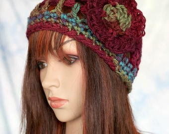 Set - Maroon and Turquoise with Flower, and Matching Fingerless Gloves