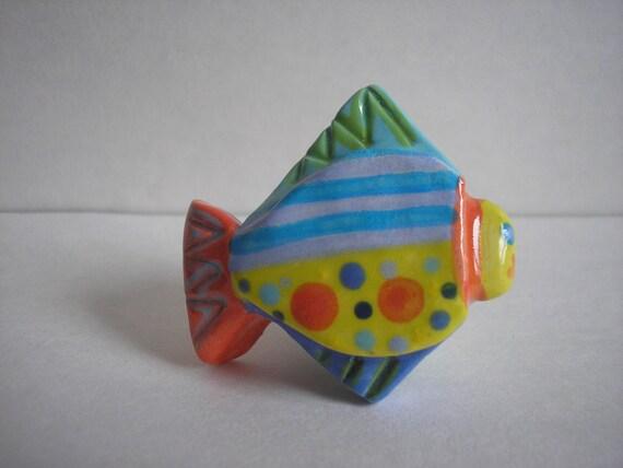 Fish knob drawer pull handle bright colorful handmade for Fish drawer pulls
