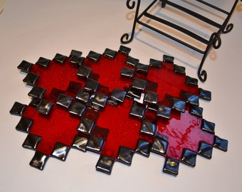 Zig-zag red/black glass fused coasters by YafitGlass