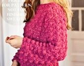 Instant download - Crochet cardigan PATTERN (pdf file) - Ladies Popcorn Sweater