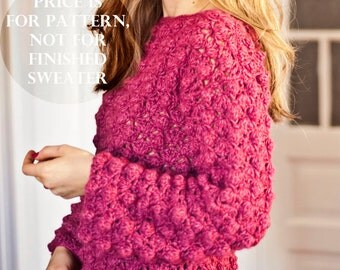 Crochet cardigan PATTERN - Ladies Popcorn Sweater