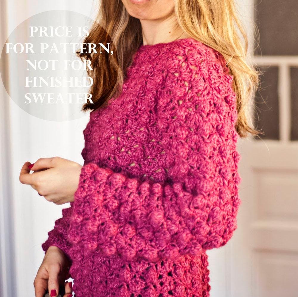 Crochet Patterns Ladies Cardigans : Crochet cardigan PATTERN Ladies Popcorn Sweater