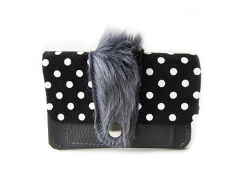 leather wallet grey hair dots