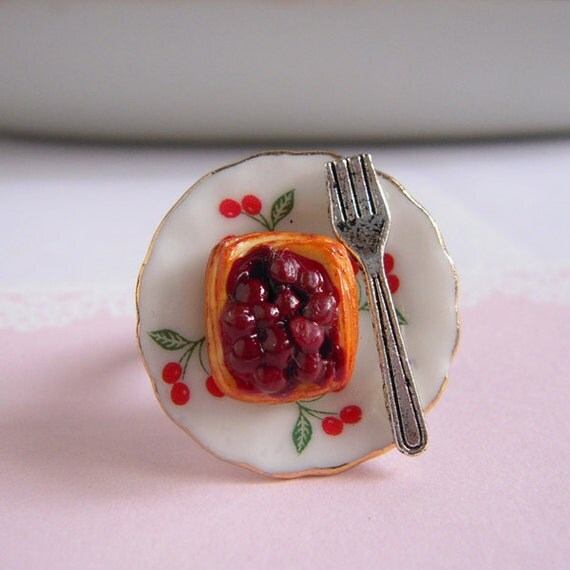 Cherry Danish Ring Miniature Pastry Cute Food By Littlepinkbox