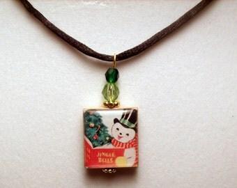 SNOWMAN Pendant / SCRABBLE CHRISTMAS Jewelry / Upcycled Handmade / Beaded Charm