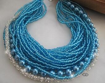 Wedding glass blue pearl, seed bead, necklace.  Handmade,  chunky layered ,  rhinestone cylinder   chain,  ultra sparkly,  blue ocean, penda